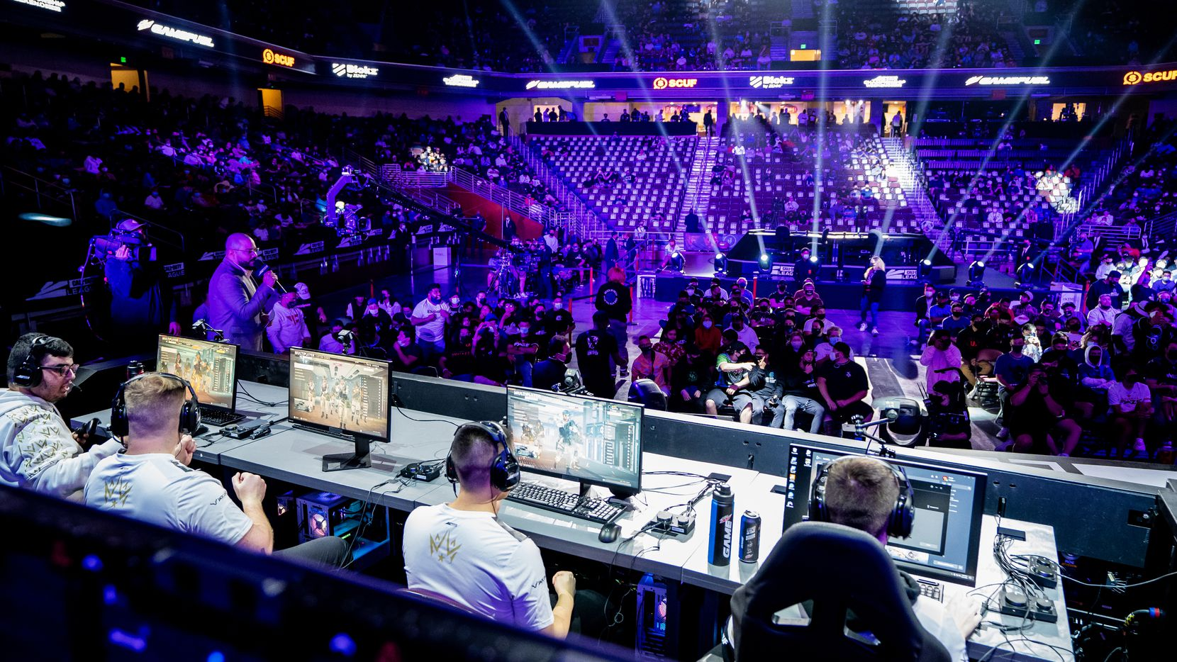 The Dallas Empire take the stage for their elimination match against the Toronto Ultra at the Call of Duty league playoffs at the Galen Center on Saturday, August 21, 2021 in Los Angeles, California.