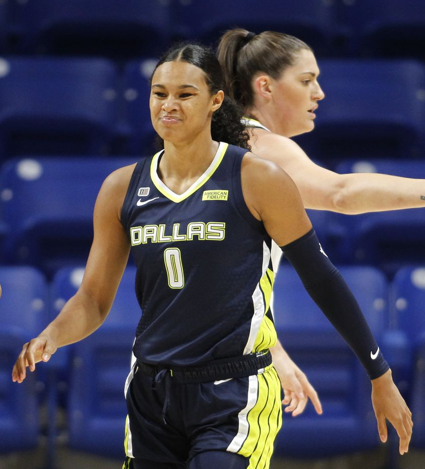 Dallas Wings forward Satou Sabally (0) reacts following a Wings turnover during first half action against the Chicago Sky. The two WNBA teams played their game at College Park Center in Arlington on June 30, 2021. (Steve Hamm/ Special Contributor)
