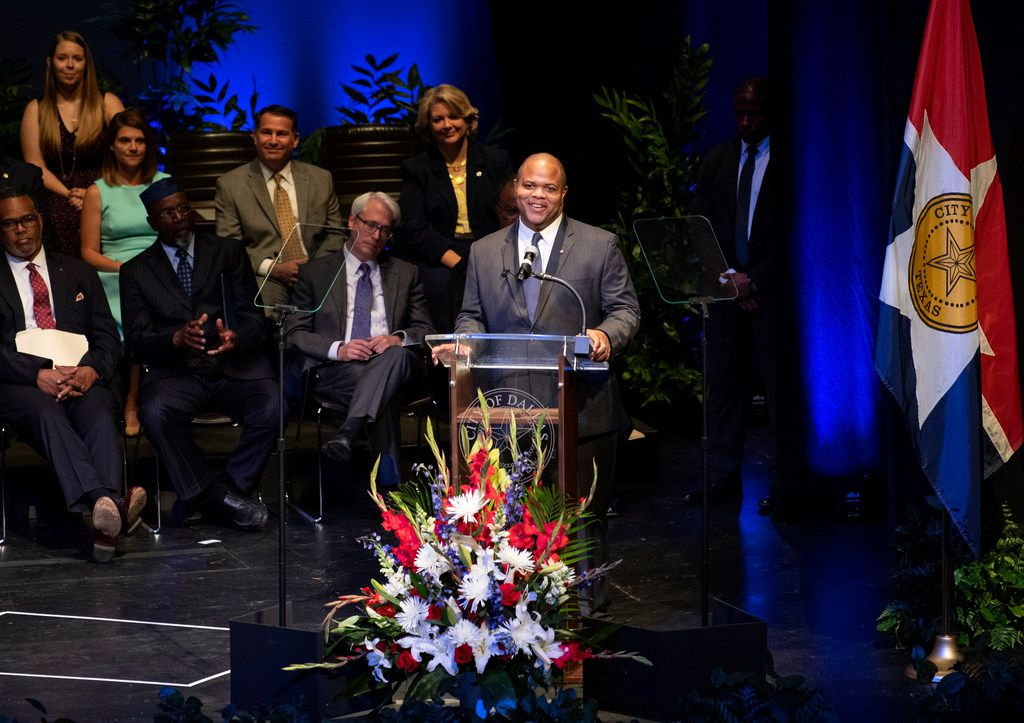 Newly-inaugurated Dallas Mayor Eric Johnson speaks after taking the oath of office on Monday, at the Winspear Opera House in Dallas.