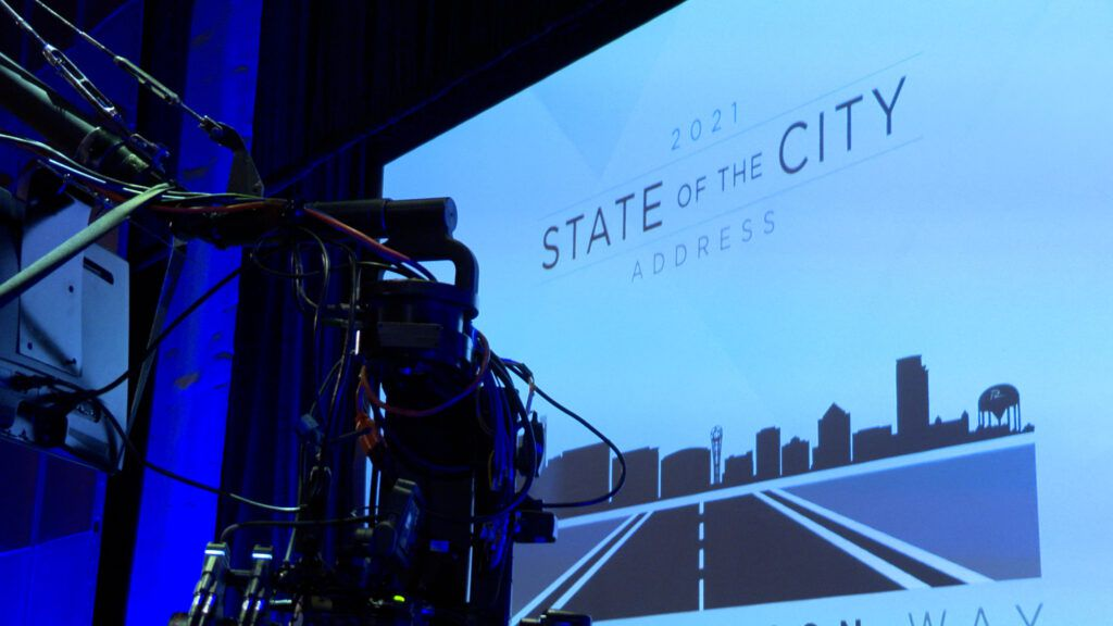 """Video reports for Richardson's """"State of the City"""" address are being filmed at the Eisemann Center, where the mayor and city council members will describe their hopes for the city in the year ahead."""