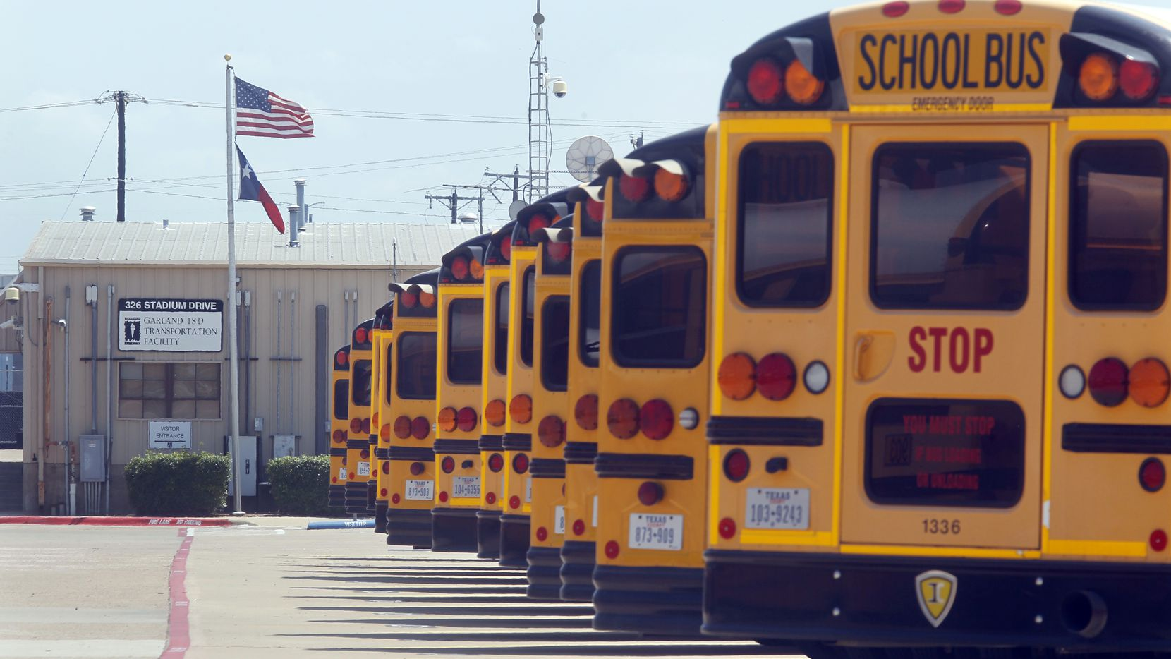 Busses at the  Garland ISD Transportation Facility in Garland Texas, on July 12, 2013.