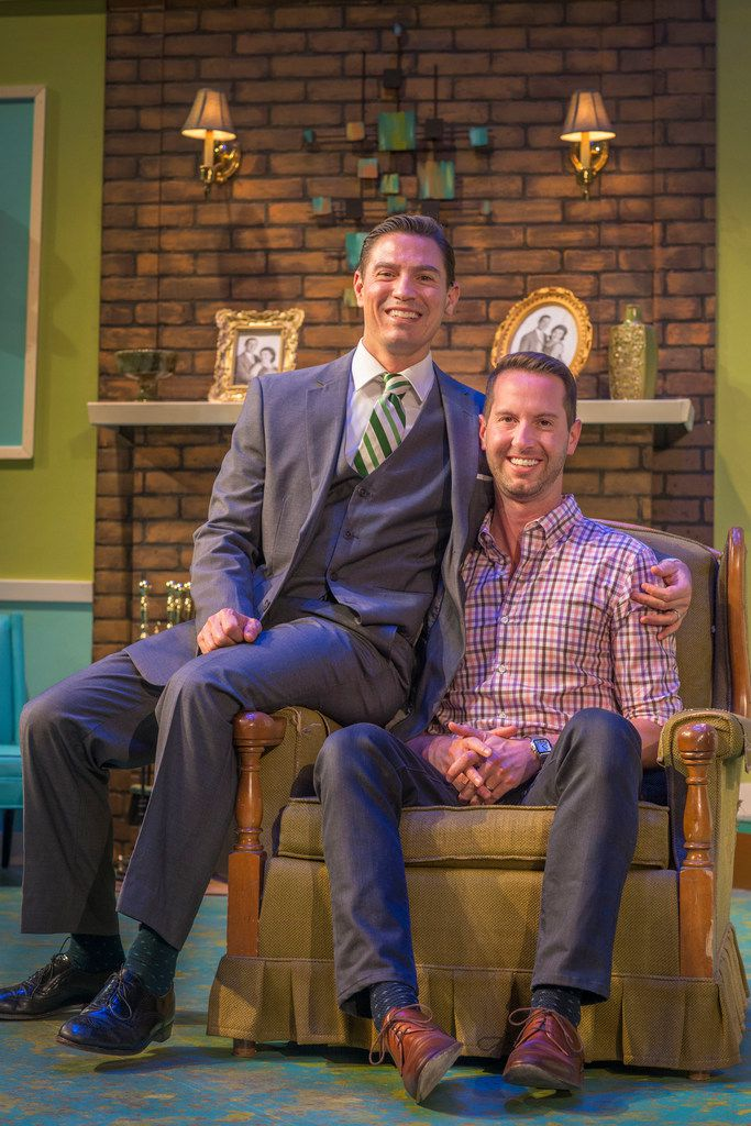 Actor Kevin Moore and his husband Joel Robbins pose before a rehearsal of Perfect Arrangement. In the show, Moore plays a gay man in the 1950s who is married to a woman as a cover because he cannot legally marry the man he loves.