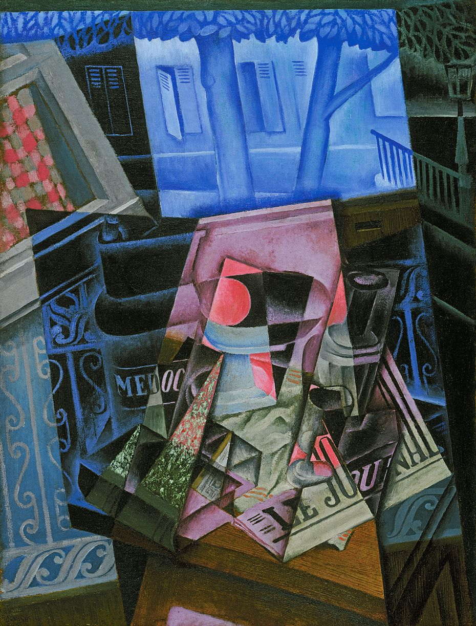 """Juan Gris' """"Still Life Before an Open Window, Place Ravignan"""" (1915) is one of the boldest and most colorful pieces in the exhibition."""