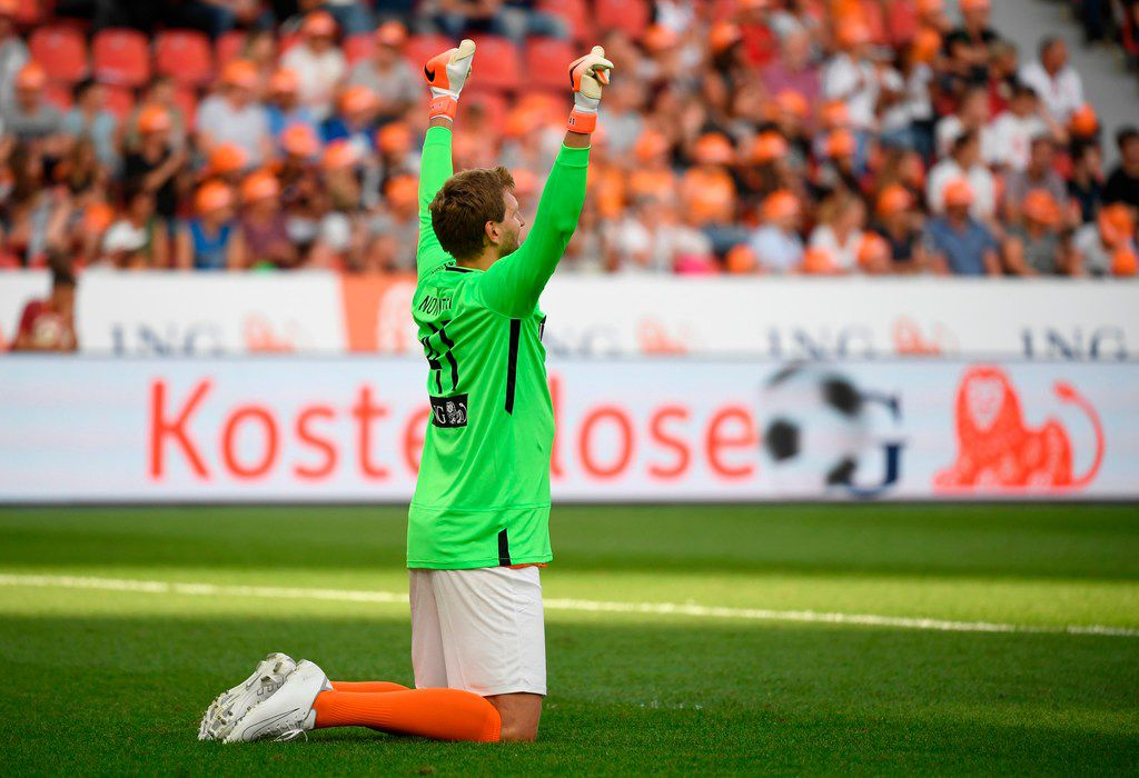 "Dirk Nowitzki of Nowitzki All Stars celebrates during the ""Champions for Charity"" friendly football match at Bay Arena on July 21, 2019 in Leverkusen, western Germany. (Photo by INA FASSBENDER / AFP)INA FASSBENDER/AFP/Getty Images"