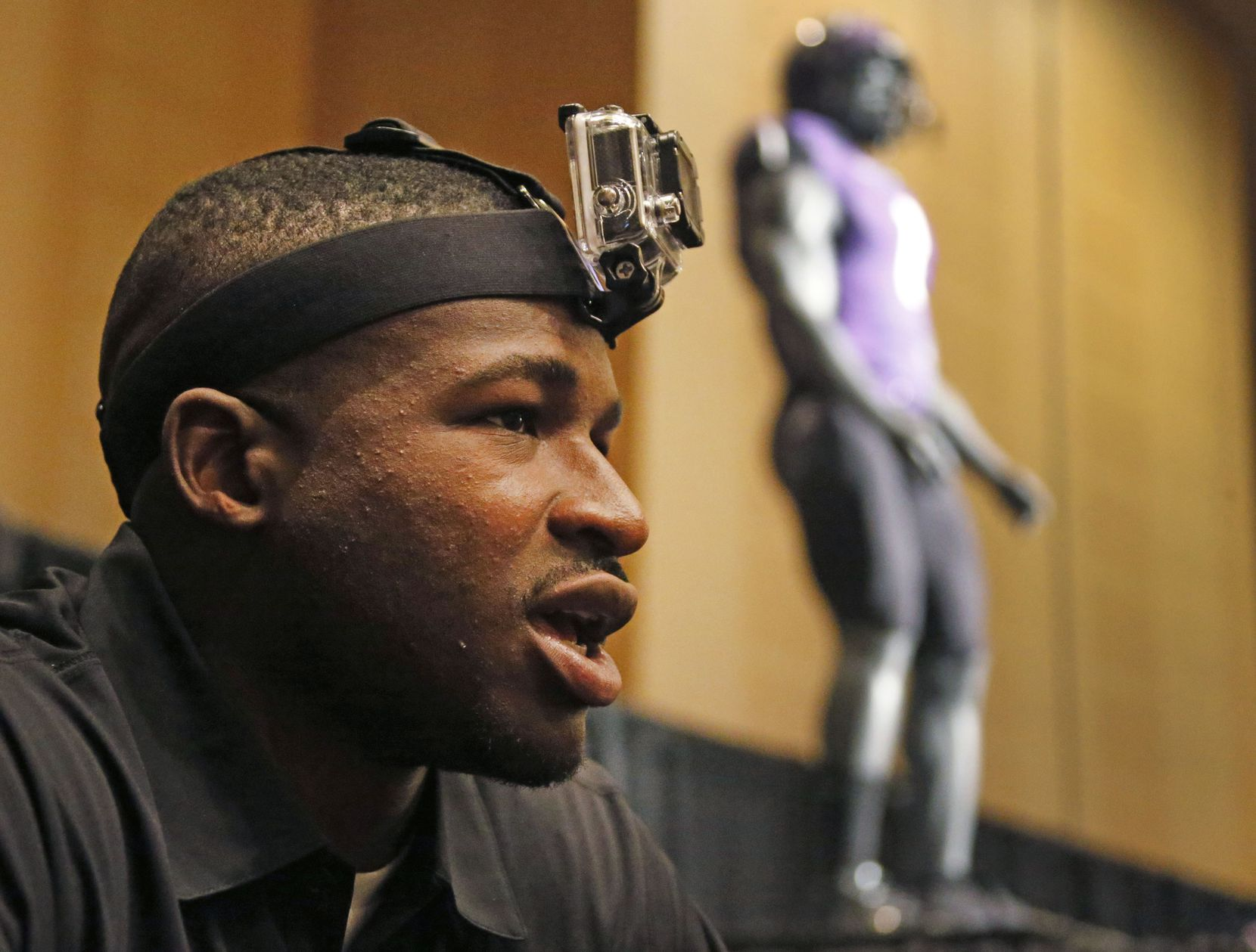 TCU's David Porter wore a GoPro camera on his head in 2014 to record video as he was interviewed during the Big 12 Conference Football Media Days at the Omni Hotel in downtown Dallas.