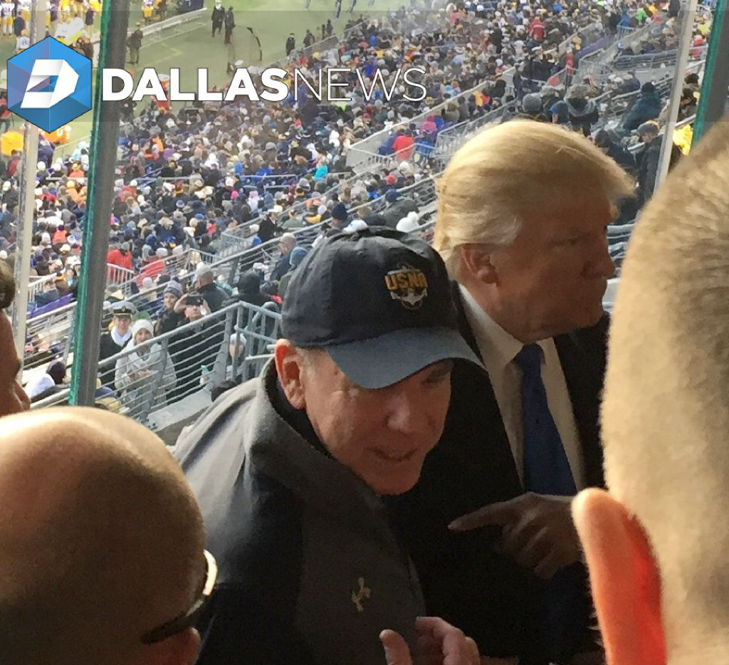 In a photo obtained by The Dallas Morning News, Heisman Trophy-winning Navy quarterback and Dallas Cowboys legend Roger Staubach visits with President-elect Donald Trump at Saturday's Army-Navy game in Baltimore.