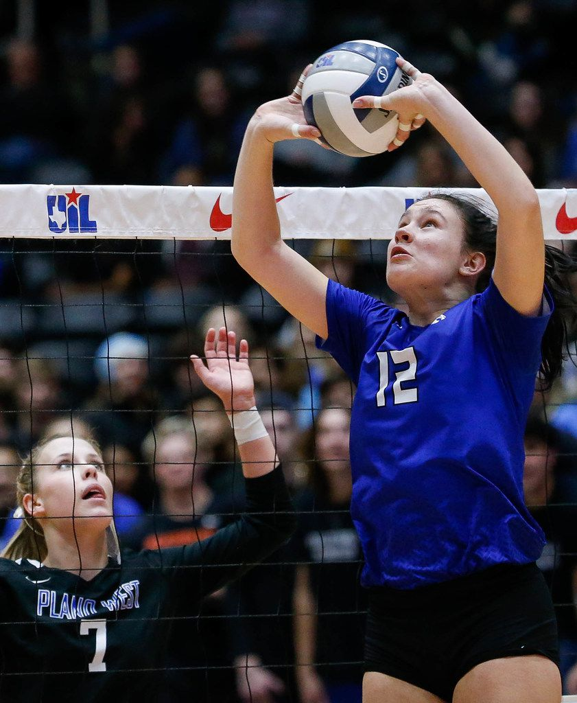 Trophy Club Byron NelsonÕs Avery Lowe (12) sets a teammate up in the second set of a class 6A volleyball state final match against Plano West at the Curtis Culwell Center in Garland, on Saturday, November 23, 2019. Nelson won the second set 25-12. (Juan Figueroa/The Dallas Morning News)