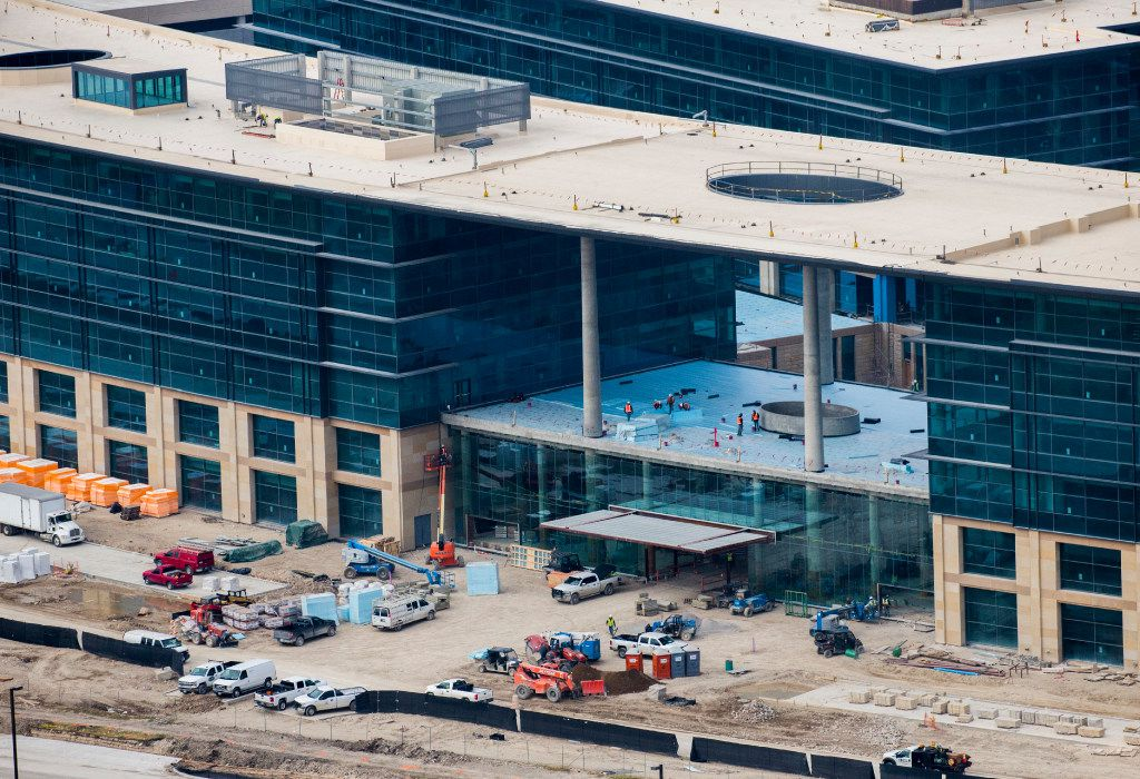 An average of 1,625 people per day are working on the buildings and grounds at Toyota's new headquarters. (Ashley Landis/The Dallas Morning News)