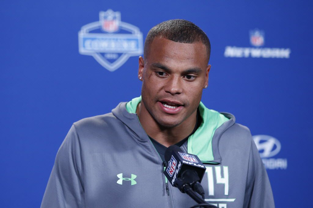 INDIANAPOLIS, IN - FEBRUARY 25: Quarterback Dak Prescott #14 of Mississippi State speaks to the media during the 2016 NFL Scouting Combine at Lucas Oil Stadium on February 25, 2016 in Indianapolis, Indiana. (Photo by Joe Robbins/Getty Images)