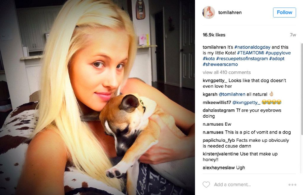 A photo posted to the Instagram account of Tomi Lahren, showing her at home with her dog, named Kota. With it she posted hashtags about #nationaldogday, #rescuepetsofinstagram, and #adopt. Tomi Lahren has a show on The Blaze multimedia network operated by Glenn Beck.