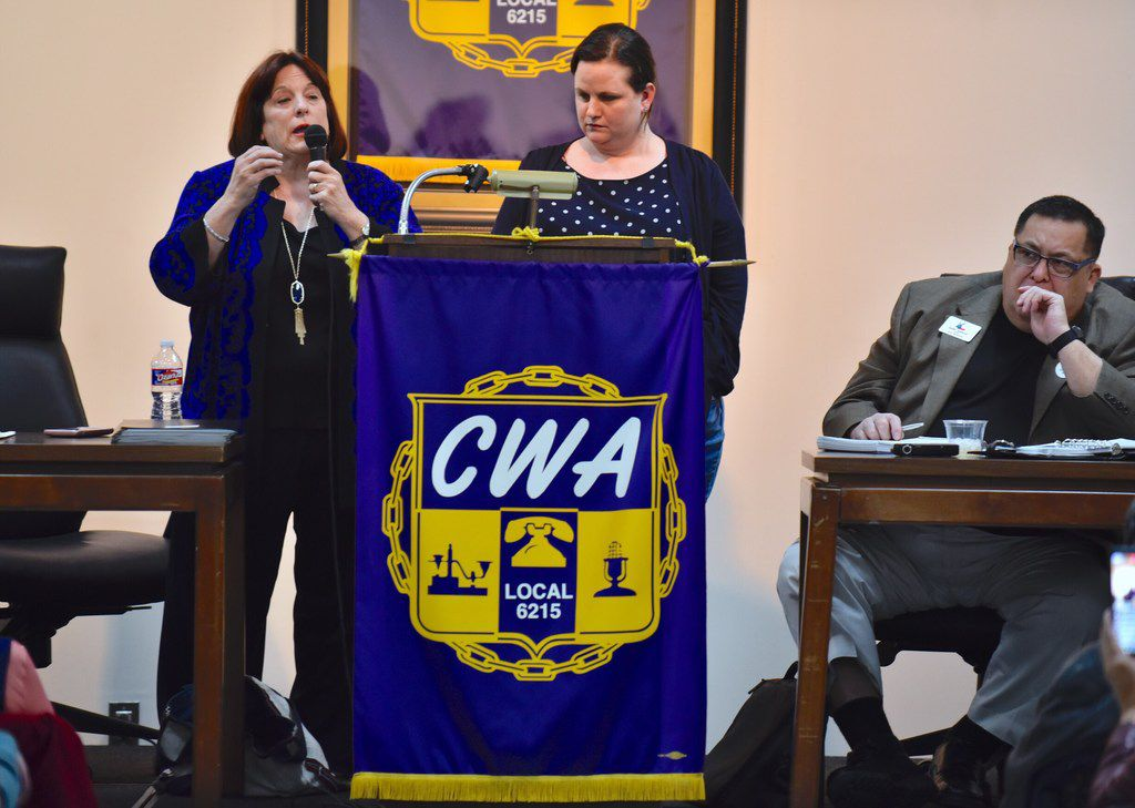 Carol Donovan, chairwoman of the Dallas County Democratic Party, (far left), and Sarah Duncan, the Democratic Party lawyer, answers questions from concerned officials and candidates about a lawsuit filed by the Dallas Republican Party, during the Dallas County Democratic Party Executive Committee Meeting at the Communications Workers of America Union Hall in Dallas, Monday, Jan. 22, 2018.  Secretary Gary Garcia of the Dallas County Democratic Party sits at right. Ben Torres/Special Contributor