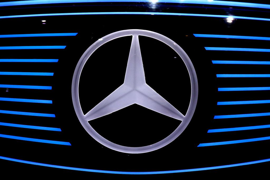 The logo of Mercedes EQ concept car is photographed prior to the annual  news conference at the company's headquarters in Stuttgart, Germany, Thursday, Feb. 2, 2017. (AP Photo/Matthias Schrader)