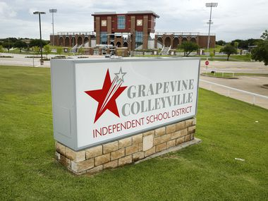 The Grapevine-Colleyville  ISD sign is pictured before Mustang Panther Stadium in Grapevine, Texas, Tuesday, June 23, 2020.