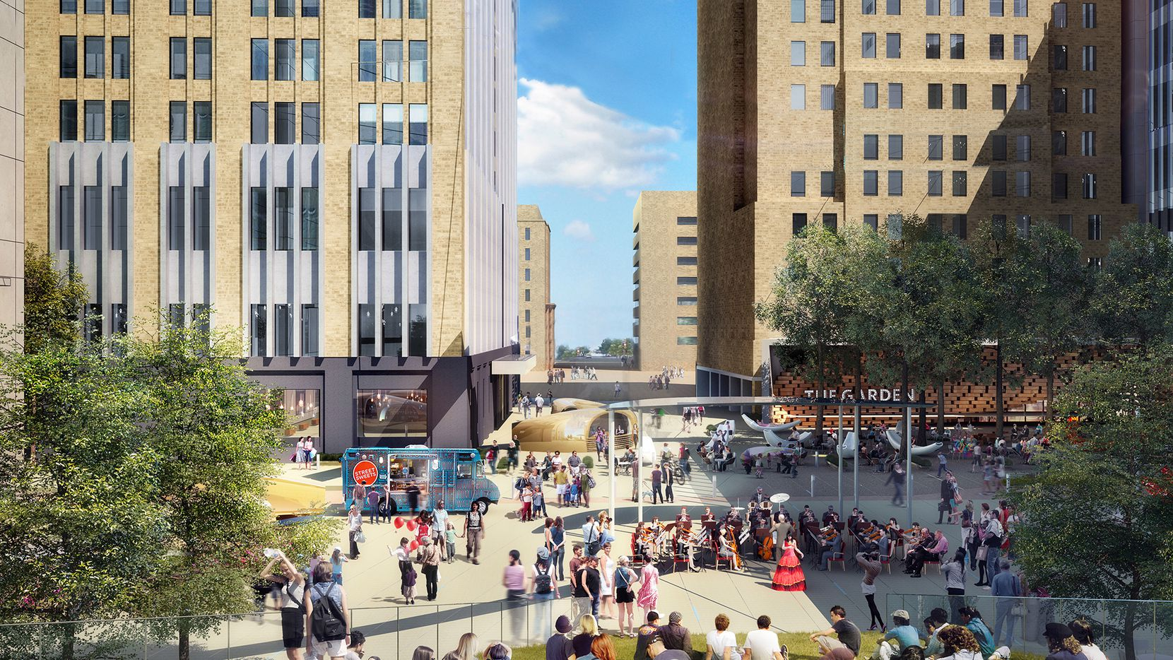The plaza in front of AT&T's downtown buildings will be totally redone with new green space, restaurants, retail and art.