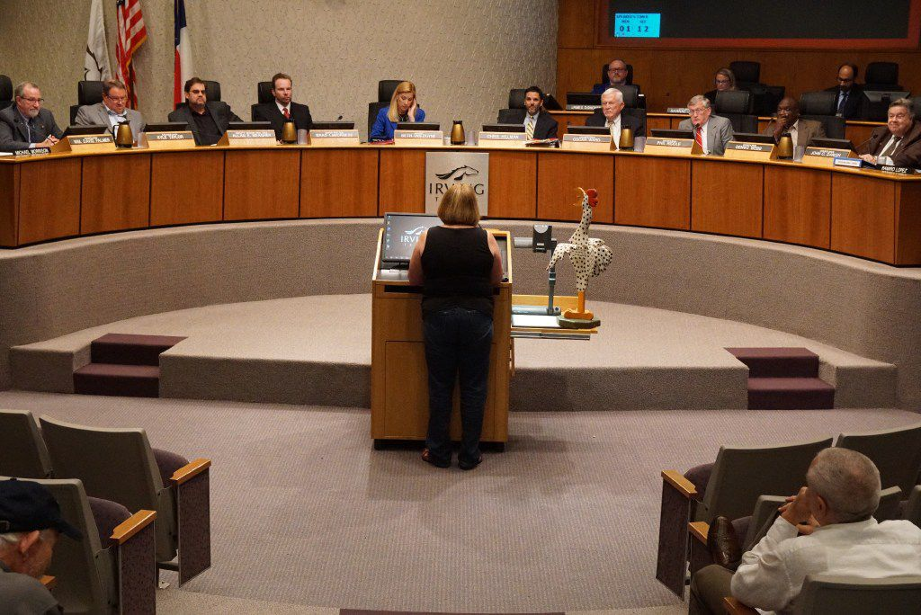 Nancy Starnes came out in support of the chicken ordinance during the city council meeting at City Hall in Irving, Texas on April 6, 2017.