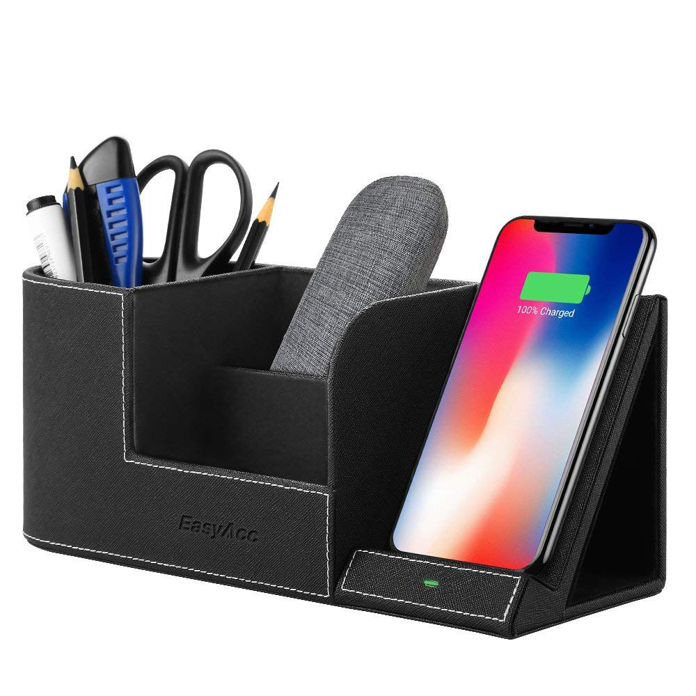EasyAcc Qi-certified wireless charging stand with multi-device organizer