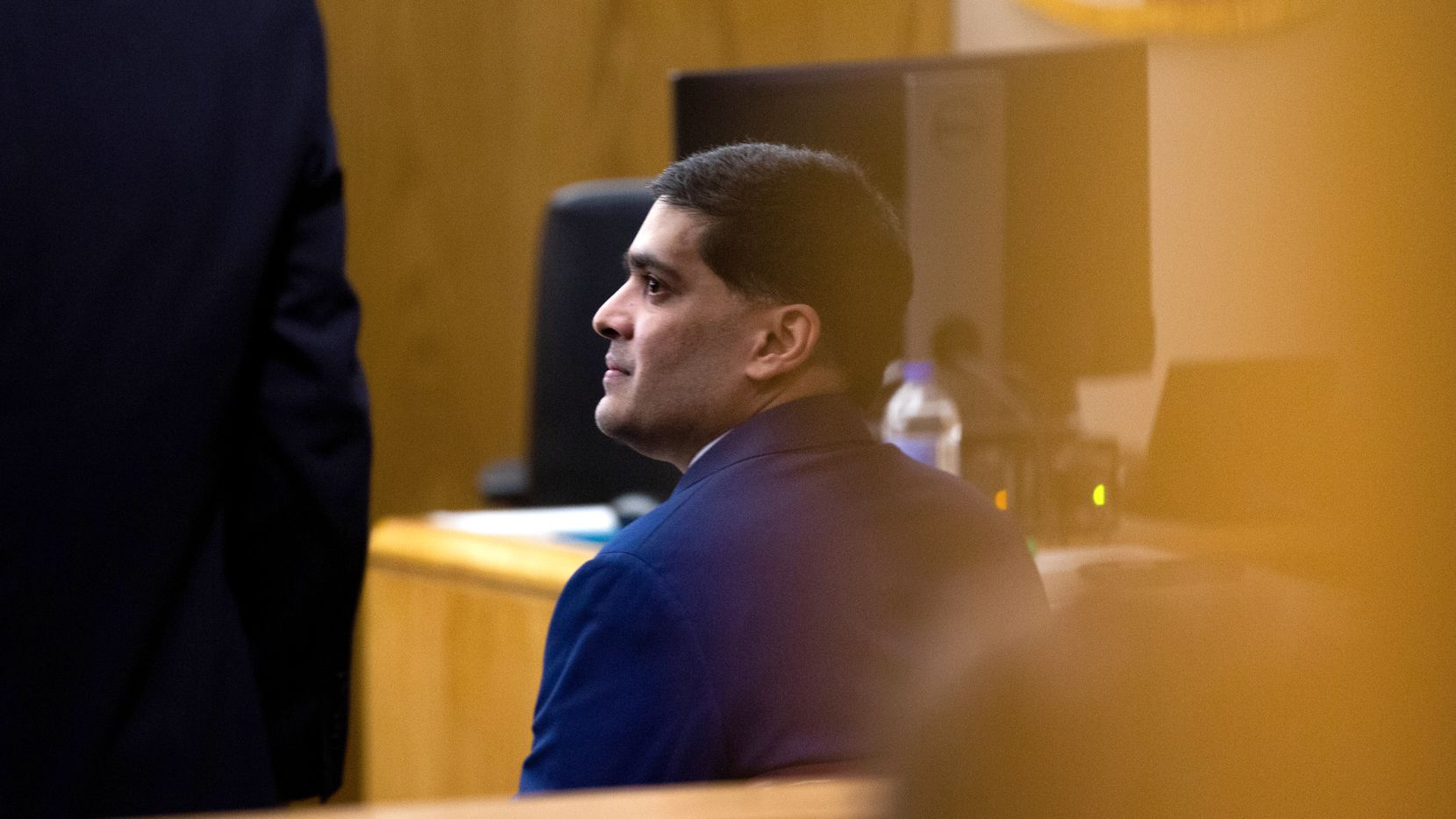 Defendant Wesley Mathews sits during a recess at his sentencing hearing in the 282nd Judicial District Court at the Frank Crowley Courthouse on Tuesday, June 25, 2019. Mathews, who is accused of killing his 3-year-old adopted daughter, Sherin Mathews, plead guilty to injury to a child by omission on Monday