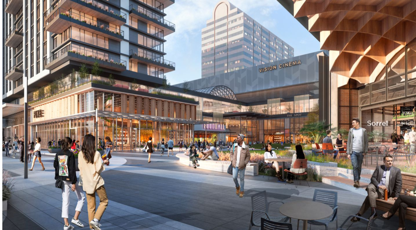 The front of the mall would be redesigned to create a more pedestrian environment.