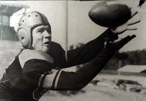 This is a shot of Ennis' Jack Lummus, a former Ennis High; Baylor and New York Giants football player, who was killed in combat on Iwo Jima in World War II. He was awarded the Congressional Medal of Honor. This is a photo of him catching a pass at Baylor, sometime around 1940.