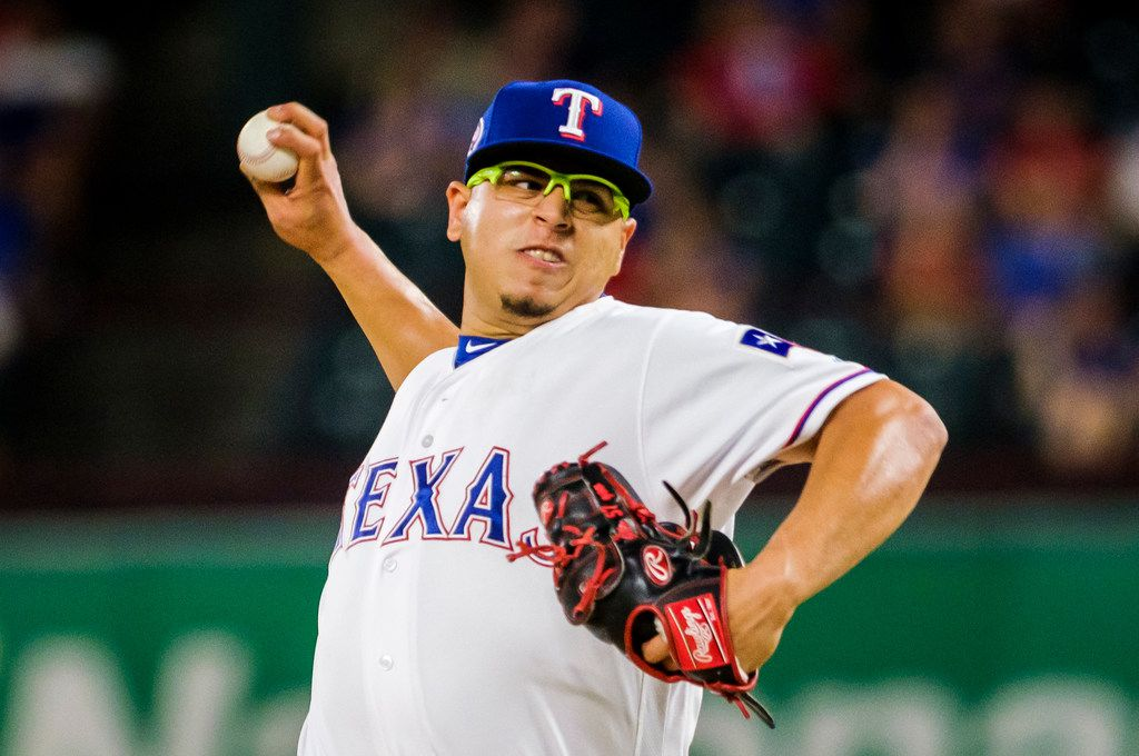 Texas Rangers pitcher Ariel Jurado pitches during the first inning against the Tampa Bay Rays at Globe Life Park on Wednesday, Sept. 11, 2019, in Arlington.