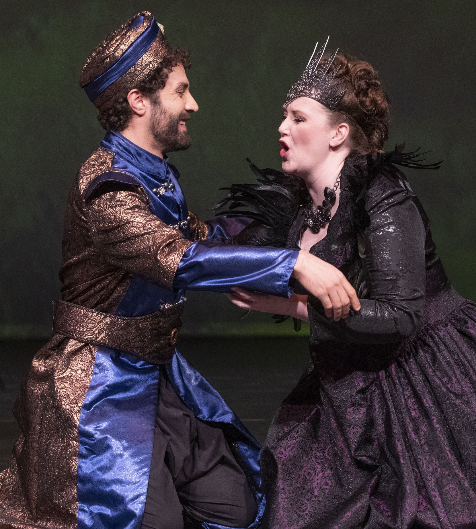"Javier Ortiz and Jennifer Youngs of the American Baroque Opera Company perform a scene from Handel's ""Rinaldo"" in a dress rehearsal at the Irving Arts Center in Irving, Texas on March 5, 2020."