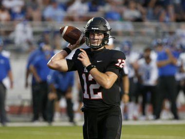 Argyle quarterback CJ Rogers (12) throws during a high school football game against Decatur in Argyle, Tx, on August 28, 2020.    ORG XMIT: Argyle27