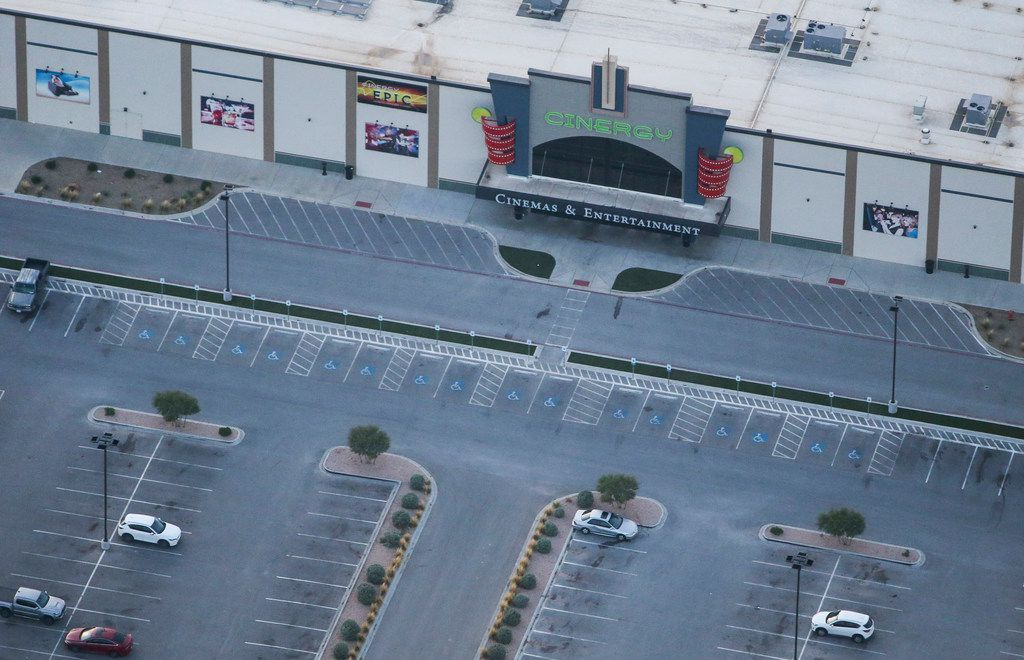 A Cinergy movie theatre where police took down a gunman on Saturday is seen Sunday Sept. 1, 2019 in Odessa, Texas. At least five people died after more than 20 people were shot Saturday when a gunman hijacked a postal truck and began shooting randomly in the Odessa area of West Texas, authorities say.