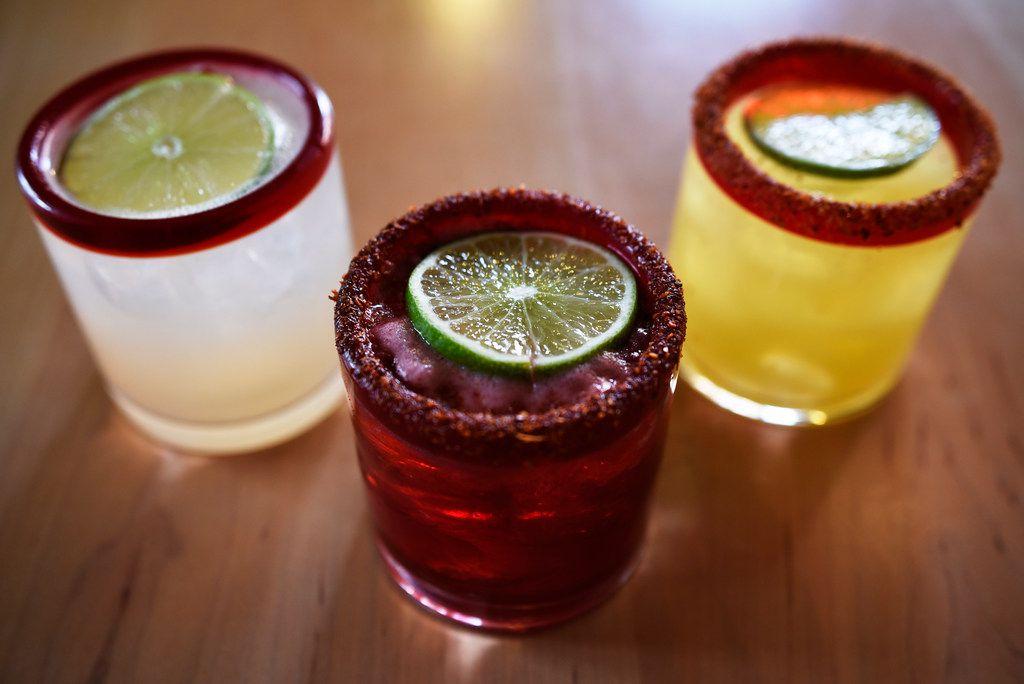 Margaritas La Skinny, left, Hibiscus, center, and De Oro, from Urban Taco in Dallas.