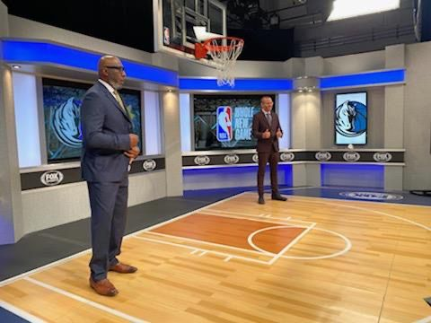 """The Mavericks television broadcast team of Mark Followill (right),  Derek Harper (left) and Jeff """"Skin"""" Wade are working from the Fox Sports Southwest studios in Irving."""