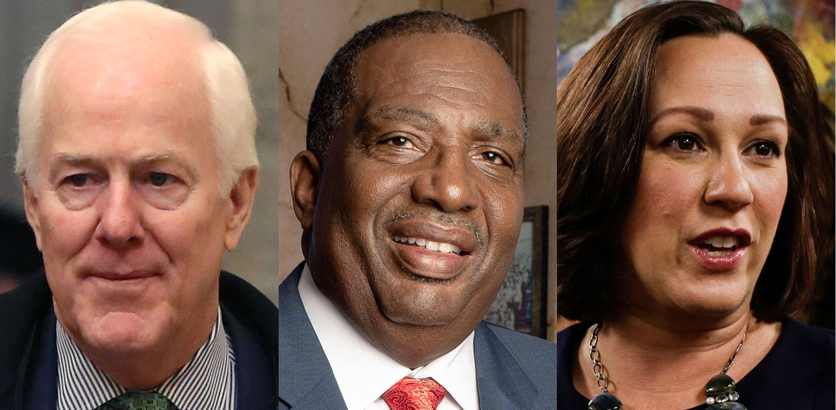 In the fall election, U.S. Sen. John Cornyn of Texas (left) will face the winner of a Democratic primary runoff between state Sen. Royce West of Dallas and MJ Hegar of Round Rock.