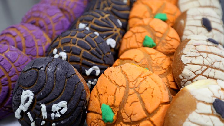 Conchas, Halloween themed sweet bread, at Del Norte Bakery in Dallas