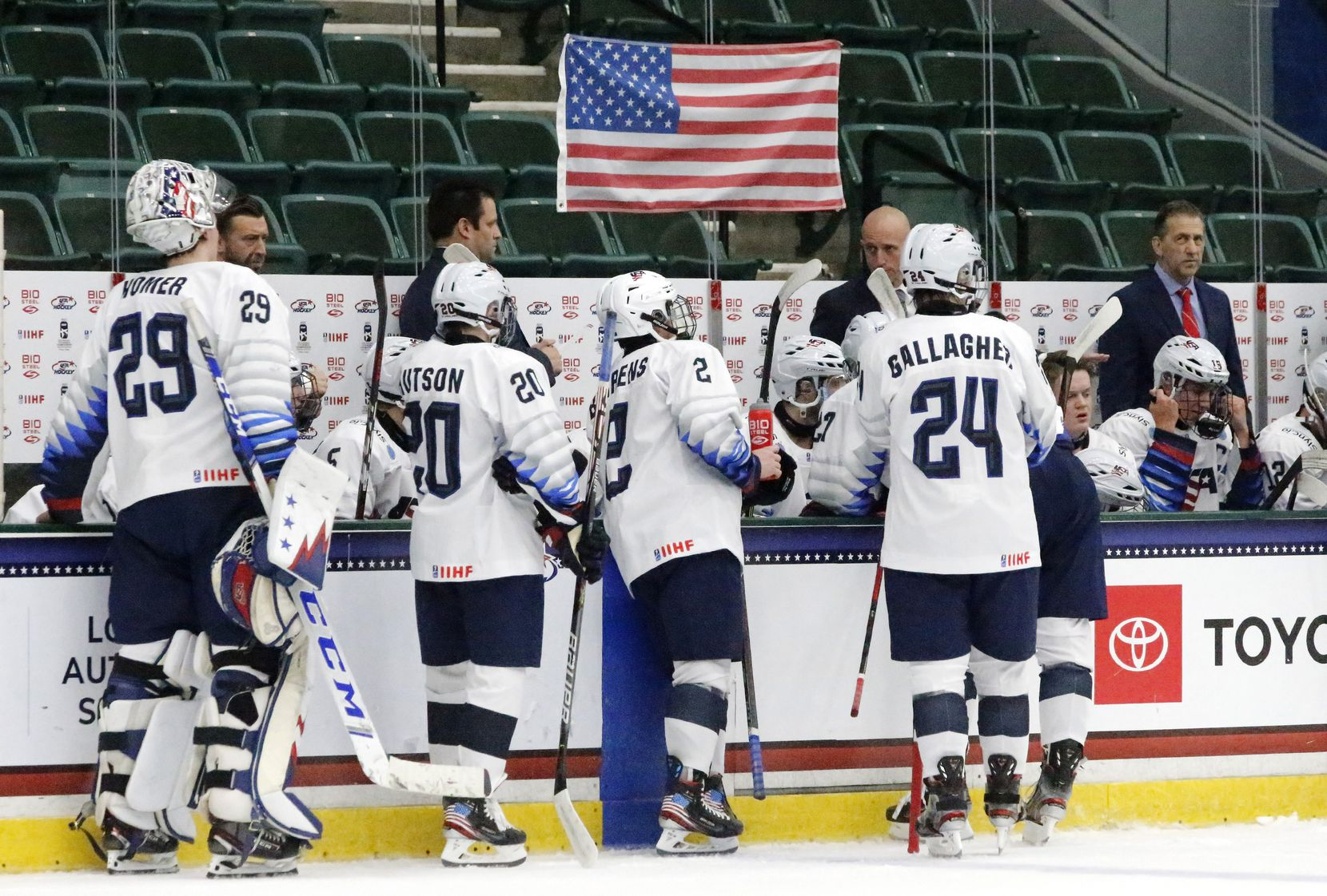 Team USA approached the bench during a break in the action in the first period of the IIHF Ice Hockey U18 World Championship at the Comerica Arena on Monday in Frisco.