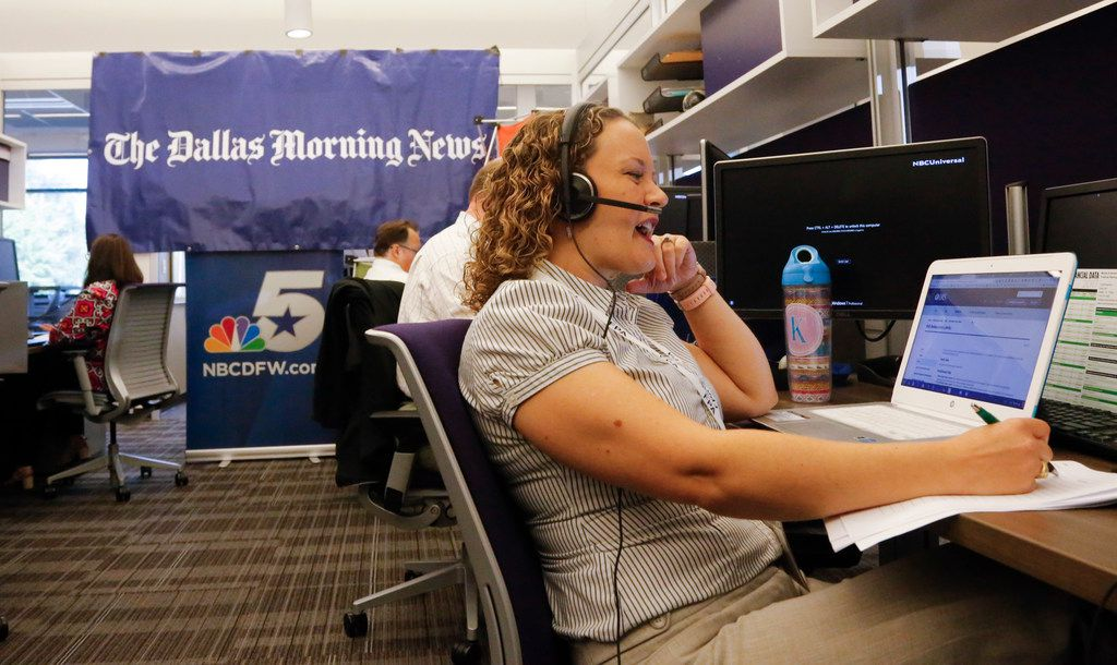 Certified financial planner Katie Brewer answered questions at The Dallas Morning News' annual financial call-in on Thursday from the offices of KXAS-TV (NBC5). (Ron Baselice/Staff Photographer)