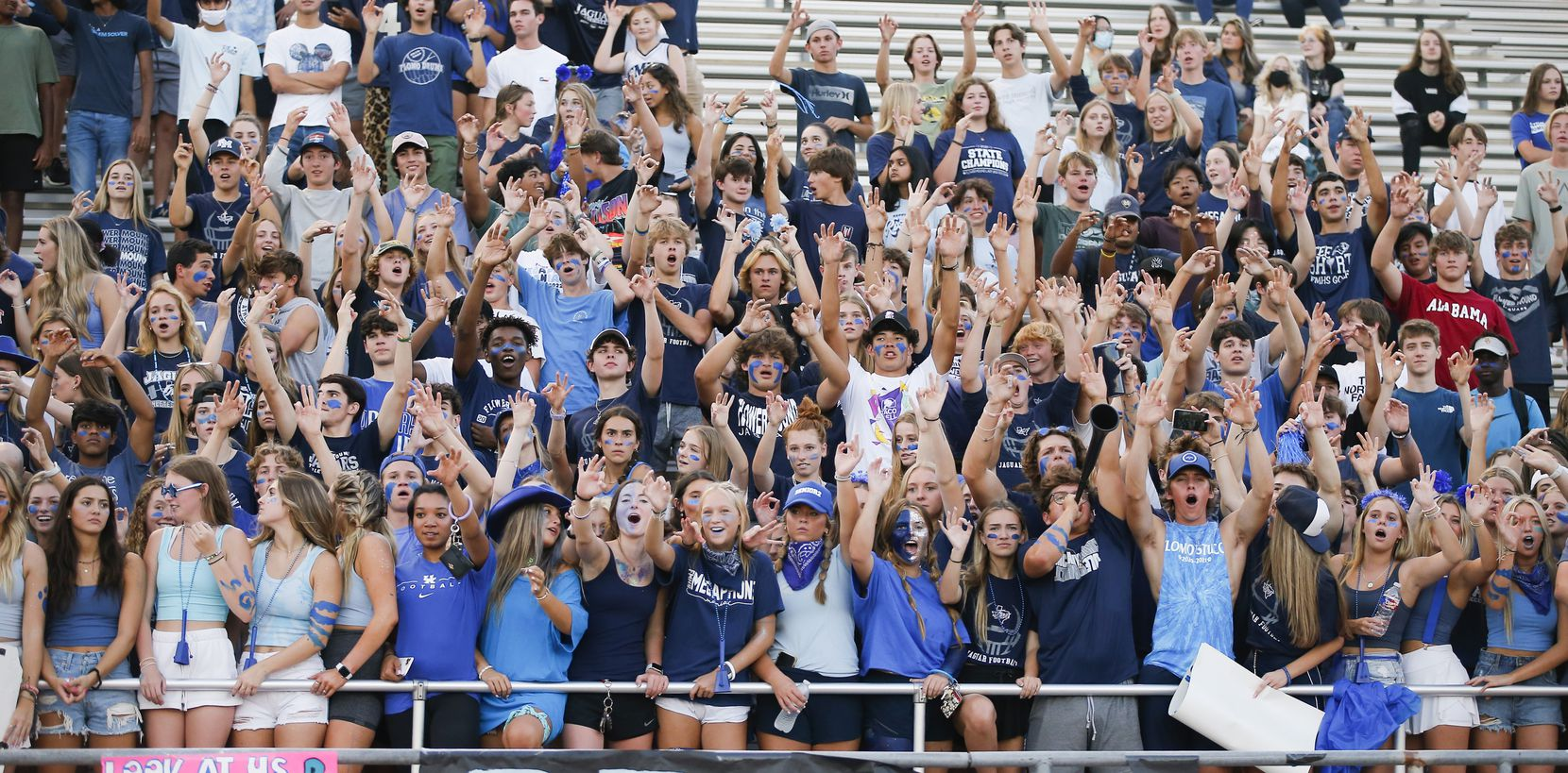 Flower Mound football fans cheer for their team during the first half of a high school football game against Mesquite at Flower Mound High School, Friday, August 27, 2021. (Brandon Wade/Special Contributor)