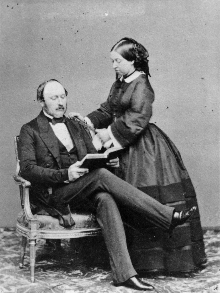 Queen Victoria and Prince Albert, the Prince Consort, at Buckingham Palace.