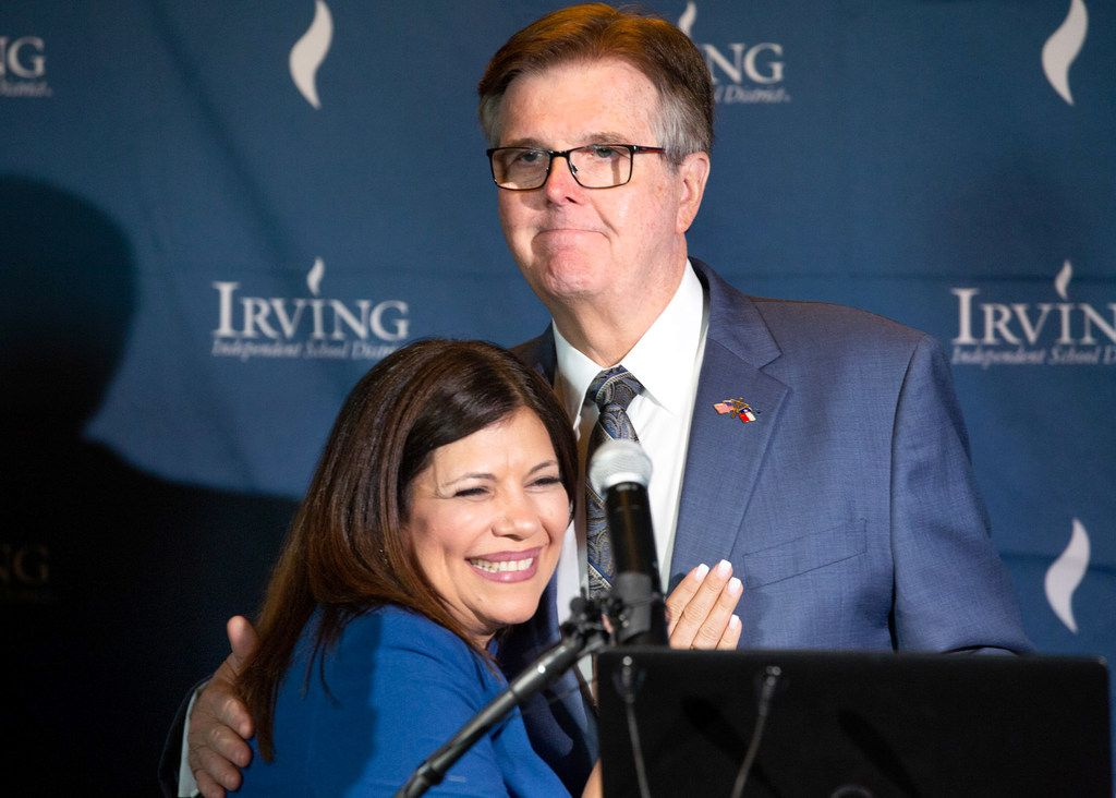 Lt. Gov. Dan Patrick congratulates Irving ISD superintendent Magda Hernandez on her district's accountability ratings during a news conference at the Toyota Music Factory in Irving on Aug. 15, 2019.