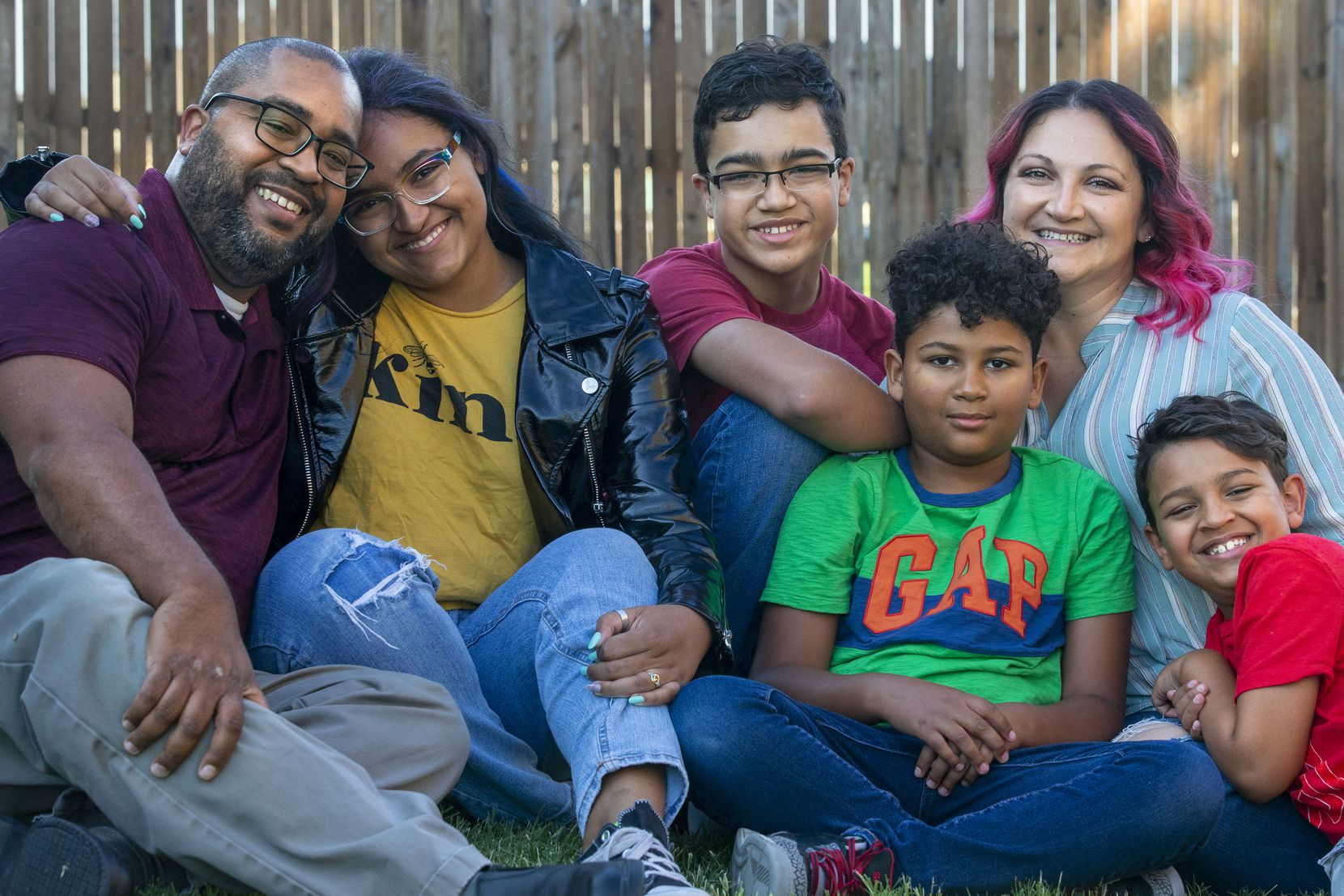 The London family — Joel (from left), Hannah, 16, Gabriel, 13, Luke, 10, Sara, and Elijah, 7 — posed for a portrait outside their home in Seagoville on June 16, 2020. Not pictured is Joel and Sara's oldest son, Christian, 17.