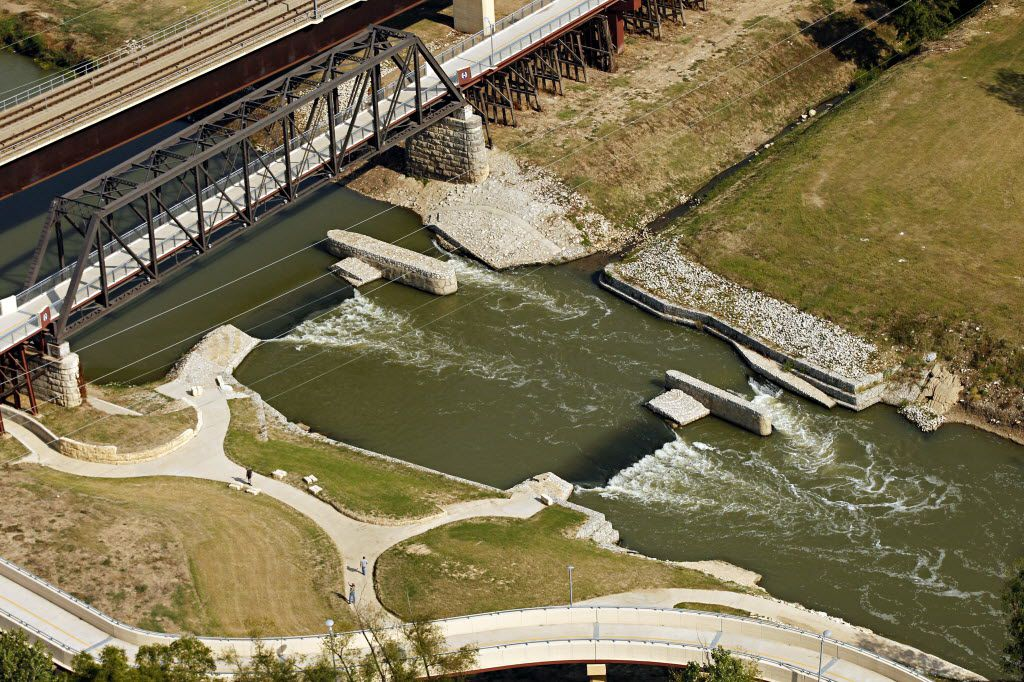 Aerial photograph of the whitewater feature in the Trinity River and the Santa Fe Trestle Trail in Dallas.