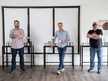 TK Kamauf, Brandon Friedman and Lance John, left to right, pose for portraits inside their new Rakkasan Tea brick-and-mortar store near Hall Street and Ross Avenue in Dallas.