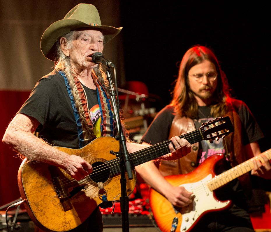 Country music legend Willie Nelson performs at Billy Bob'€™s Texas on November 12, 2016 during the barâ€'s 35th anniversary celebration in Fort Worth, Texas. Nelson'€™s son, Lukas Nelson, is at right.
