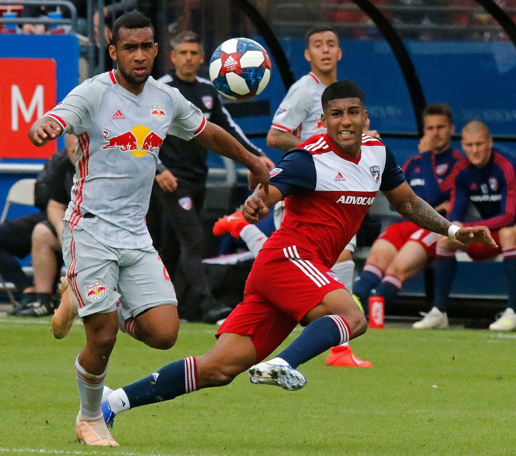 FC Dallas midfielder Santiago Mosquera (11) passes the ball past New York Red Bulls midfielder Cristian Casseres Jr (23) during the first half as FC Dallas hosted the New York Red Bulls at Toyota Stadium in Frisco on Saturday, May 11, 2019.  (Stewart F. House/Special Contributor)