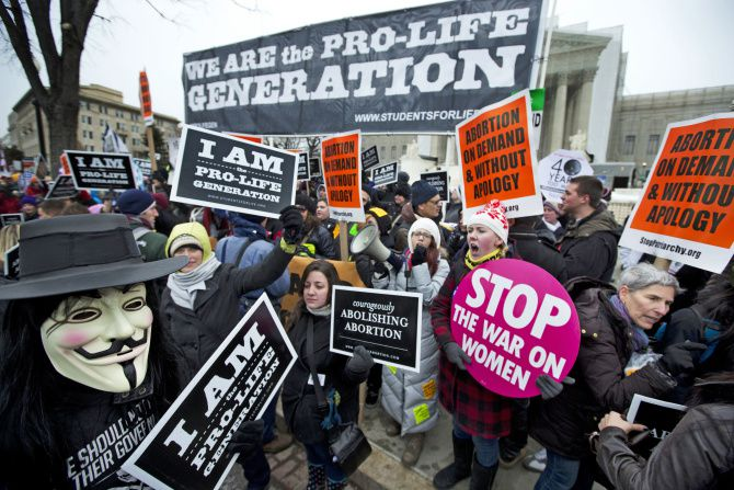Both sides in the abortion debate were heavily represented during a demonstration outside the Supreme Court in January marking the 40th anniversary of the Roe vs. Wade decision.