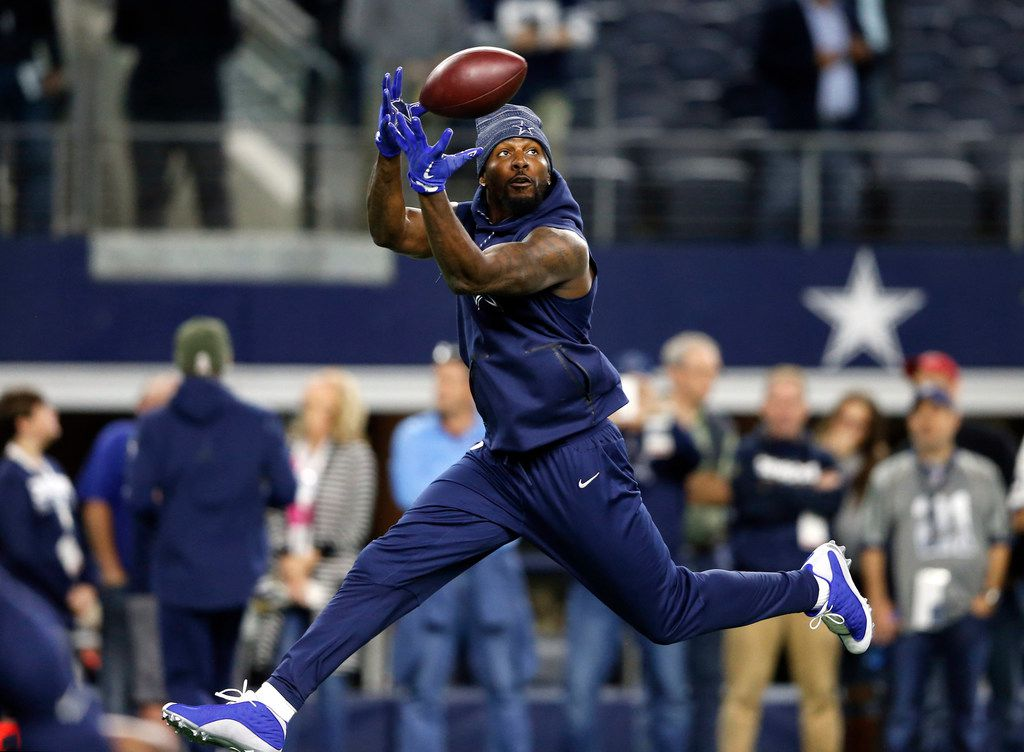 Dallas Cowboys wide receiver Dez Bryant (88) leaps for a catch before a game against the Philadelphia Eagles at AT&T Stadium in Arlington, Texas on Sunday, November 19, 2017. (Vernon Bryant/The Dallas Morning News)