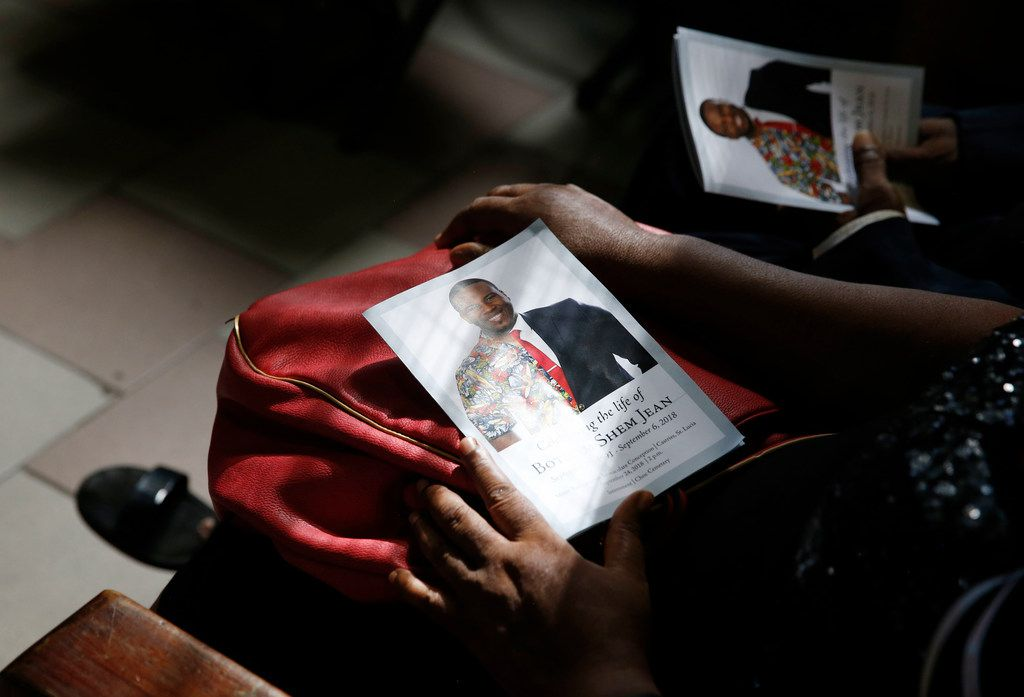 Program for Botham Shem Jean at his funeral at Minor Basilica of the Immaculate Conception in Castries, St. Lucia on Monday, September 24, 2018. Jean was shot and killed in his apartment by off duty Dallas police officer Amber Guyger. (Vernon Bryant/The Dallas Morning News)