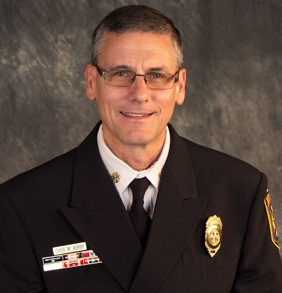 Mark Kerby, pictured here in a city portrait, is retiring as Mesquite Fire Chief and will take a role as Special Projects Director.