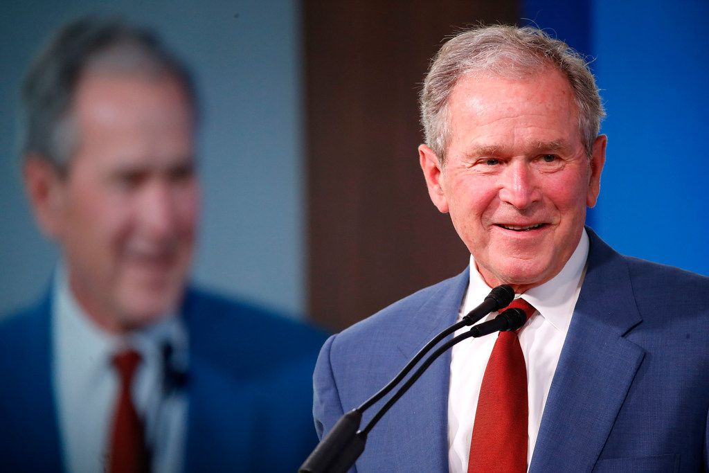 """Former President George W. Bush returned to Donald Trump's Washington on Thursday to warn of the """"dangers of isolationism."""""""