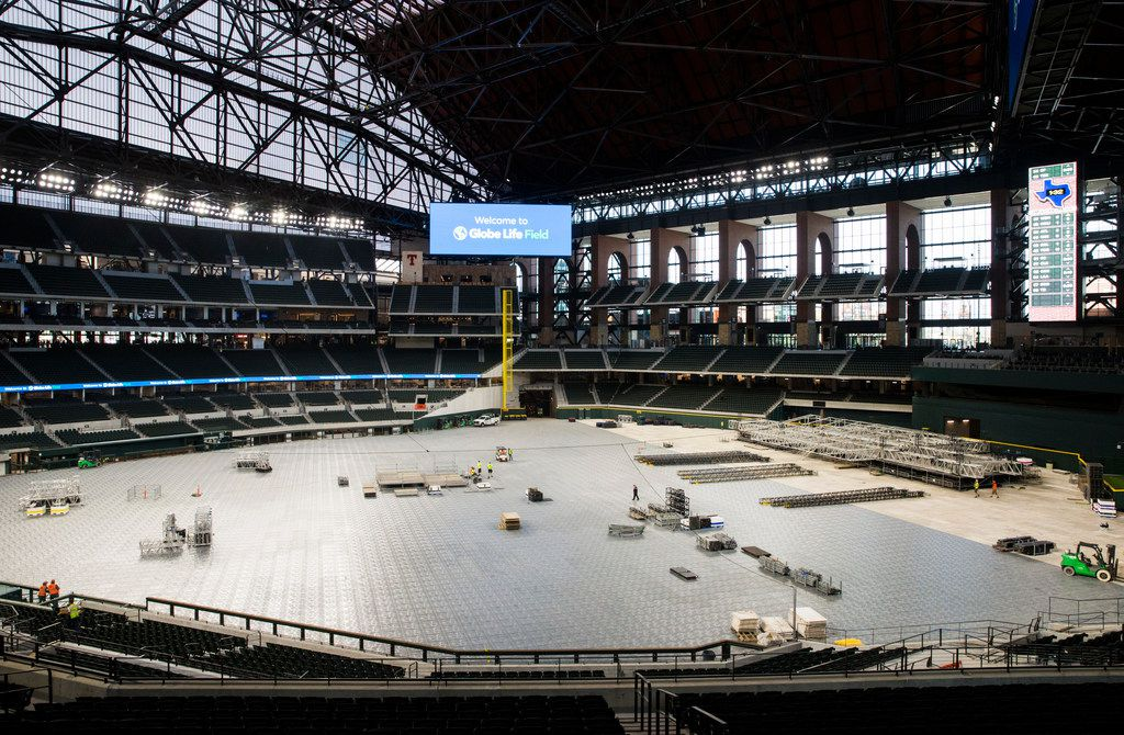 Flooring and a stage are assembled during an open house for the Texas Rangers' new Globe Life Field on Wednesday, March 11, 2020 in Arlington. The floor and stage are for an upcoming concert.