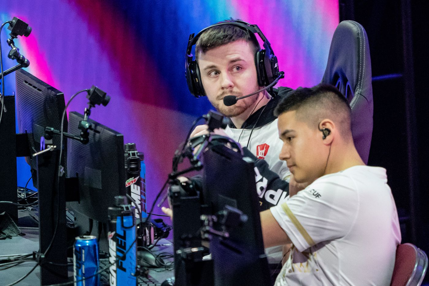 """From left, Reece """"Vivid"""" Drost and  Anthony """"Shotzzy"""" Cuevas-Castro react to the Dallas Empires elimination from the  Call of Duty league playoffs at the Galen Center on Saturday, August 21, 2021 in Los Angeles, California. The Empire lost to Toronto Ultra 2 - 3, eliminating them from the tournament. (Justin L. Stewart/Special Contributor)"""
