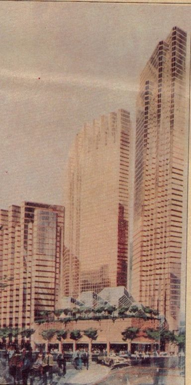 An early design for the Fountain Place block shows granite towers and a glass-roofed garden building at the corner.