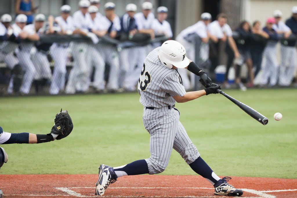 Keller's Shea Langeliers connects to drive in a run during the third inning of a Class 6A, Region 1, quarterfinal high school baseball playoff game against Flower Mound on Saturday, May 23, 2015, in McKinney. Keller won the game 10-5 to advance to regional semifinals.  (Smiley N. Pool/The Dallas Morning News)